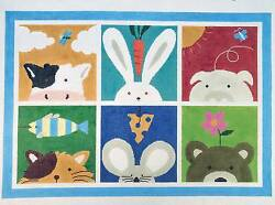 Rug - 6 Animals Collage Handpainted Needlepoint Rugs By Lee Needle Art 12 Mesh