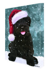 Let it Snow Christmas Black Russian Terrier Dog Santa Hat Canvas Wall Art