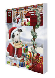 Bull Terrier Dear Santa Letter Christmas Holiday Mailbox Dog Canvas Wall Art