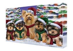 Yorkshire Terriers Dog Christmas Family Portrait in Holiday Canvas Wall Art