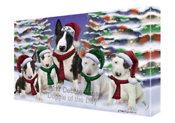 Bull Terrier Dog Christmas Family Portrait Holiday Background Canvas Wall Art