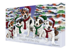 Jack Russell Dog Christmas Family Portrait Holiday Canvas Wall Art