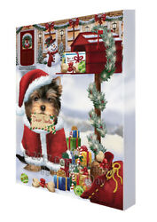 Yorkshire Terriers Dear Santa Christmas Holiday Mailbox Dog Canvas Wall Art