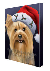 Christmas Yorkshire Terriers Dog Holiday Portrait Santa Hat Canvas Wall Art