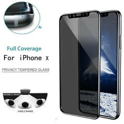 Privacy Tempered Glass Protector Screen Full Cover Film Skin For iPhone X Phone