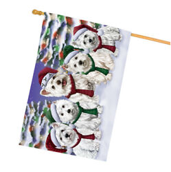 West Highland Terriers Dog Christmas Family Portrait in Holiday House Flag