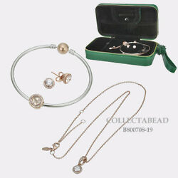 Authentic Pandora Sterling Silver Rose Jewelry Gift Set W/ Travel Box B800708-19