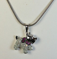 18k GOLD WHITE DIAMOND RUBY SCOTTY DOG SCOTTISH TERRIER ANIMAL PENDANT CHARM
