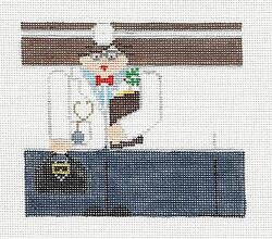 Medical Doctor Roll-up Ornament Handpainted Needlepoint Canvas By Kathy Schenkel