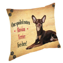 Russian Red Terrier Spoiled Rotten Dog Throw Pillow 14x14