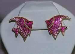 18K COUTURE DIAMOND PINK SAPPHIRE DESIGNER ANGEL FISH ANIMAL TROPICAL EARRINGS