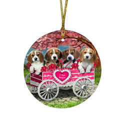 I Love Beagle Dogs in a Cart Round Christmas Ornament A605
