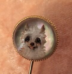 Antique Essex Crystal Intaglio PinCravatLapelStock PomTerrier Dog 15ct Gold