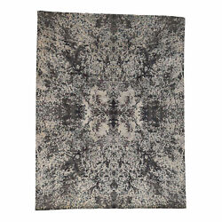 9and03910and039and039x13and0397and039and039 Hand-knotted Wool And Silk Abstract Design Modern Rug R38072