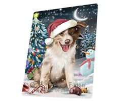 Holly Jolly Christmas Border Collie Dog Woven Throw Sherpa Blanket T70