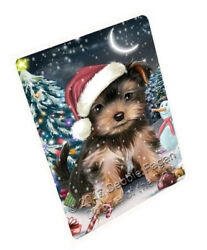 Holly Jolly Christmas Yorkshire Terrier Dog Woven Throw Sherpa Blanket T46