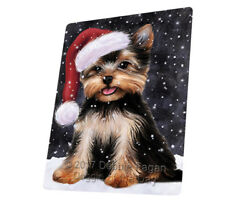 Let it Snow Christmas Yorkshire Terrier Dog Woven Throw Sherpa Blanket T45