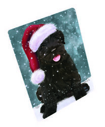 Let it Snow Christmas Black Russian Terrier Dog Woven Throw Sherpa Blanket T125