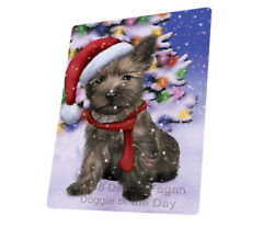 Winterland Wonderland Cairn Terrier Puppy Dog Woven Throw Sherpa Blanket T277