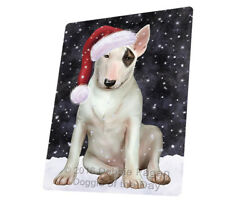 Let it Snow Christmas Holiday Bull Terrier Dog Woven Throw Sherpa Blanket T379