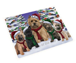 Cairn Terrier Dog Christmas Family Holiday Woven Throw Sherpa Blanket T403