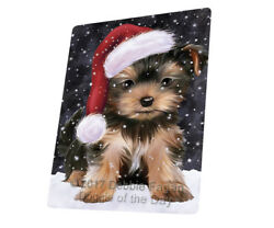 Let it Snow Christmas Yorkshire Terriers Dog Woven Throw Sherpa Blanket T142
