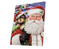 Jolly Saint Nick Santa Yorkshire Terriers Dog Woven Throw Sherpa Blanket T398