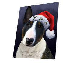 Christmas Bull Terrier Dog Holiday Santa Hat Woven Throw Sherpa Blanket T430