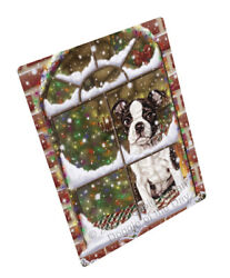 Come Home For Christmas Boston Terriers Dog Woven Throw Sherpa Blanket T249