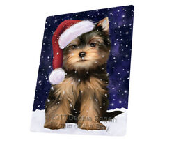 Let it Snow Christmas Yorkshire Terriers Dog Woven Throw Sherpa Blanket T143