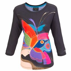 Laurel Burch Butterfly Woman Face 3/4 Sleeve Scoop Neck Polyester Tee Shirt New