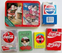 Lot Of 6 Coca-cola And Pepsi-cola Advertising Playing Cards Decks