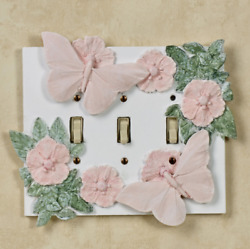 Flowers and Butterflies Triple Switchplate Cover Butterfly Decor