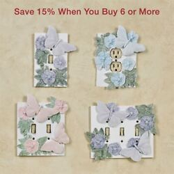 Flowers and Butterflies Single Switchplate Cover Butterfly Decor
