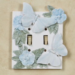 Flowers and Butterflies Double Switchplate Cover Butterfly Decor