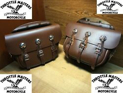 Heavy Brown 5 Strap Saddlebags W/ Conchos And Chrome Plates For Harley 1936-1957