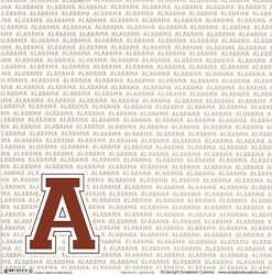 Ss Alabama Initial And Crimson Tide Words Scrapbooking Paper - 2 Sheets