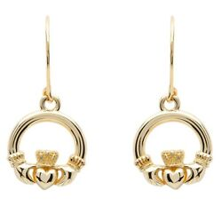 Shanore 10K Yellow Gold Irish Made Claddagh Dangle Drop Earrings 10e635