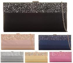 LADIES WOMENS SATIN GLITTER CLASP SHIMMER EVENING PURSE BRIDAL PROM CLUTCHBAG