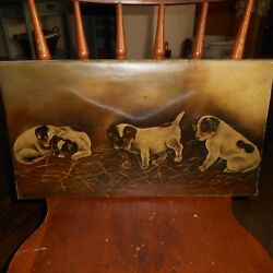 Vintage Oil On Canvas Painting-4 TERRIER PUPPIES DOGS-Signed G.H. c. 1893