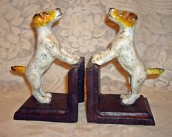 Wired Haired FOX TERRIER DOG Heavy CAST IRON  BOOKENDS ~ Jack Russell ~
