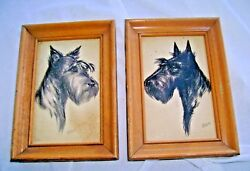 2 VINTAGE FRAMED SCOTTISH TERRIER EMBOSSED PRINTS  POSTCARDS BY R.F. GAULI