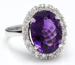6.25 Carats Natural Amethyst And Diamond 14k Solid White Gold Ring