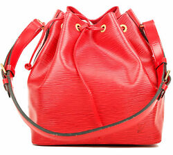 Auth LOUIS VUITTON SAC NOE BUCKET PETIT EPI RED HAND BAG AUTHENTIC LV LEATHER