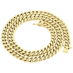 Mens 10k Yellow Gold Hollow Miami Cuban Link Chain 10.5mm Box Clasp 20-30 Inches