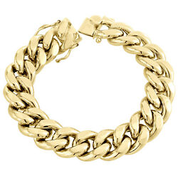 Mens 10K Yellow Gold 3D Hollow Miami Cuban Link Bracelet 17mm Box Clasp 9 Inches