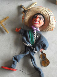 Vintage Composition Wood Cloth Marionette Mexican Man With Guitar Doll 2