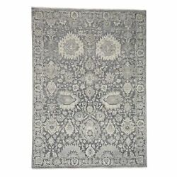 9and039x12and0394and039and039 Silk With Textured Wool Hand Knotted Oushak Influence Rug R38759