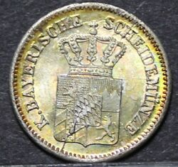 German States Bavaria Kreuzer, 1870 Silver Uncgold Tonedover 145 Years Oldf/s