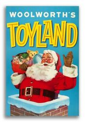 1950s Santa Claus Woolworth's Toyland Chimney Vintage Advertising Poster - 16x24